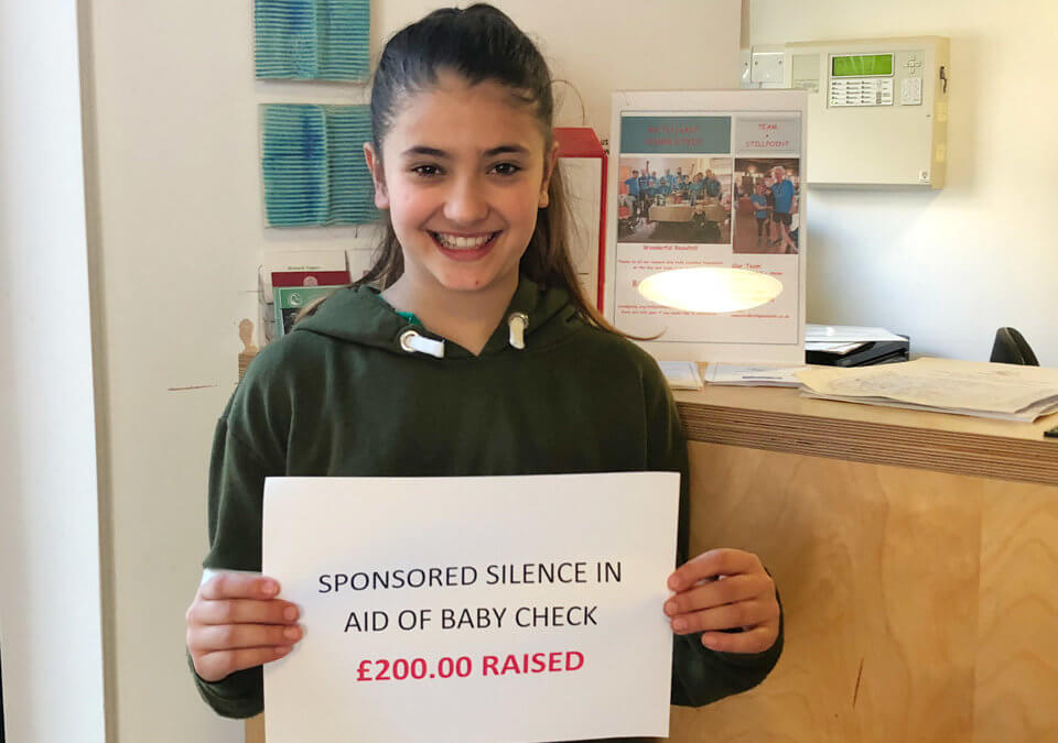 Ayesha Raises £200 for Baby Check Bath!